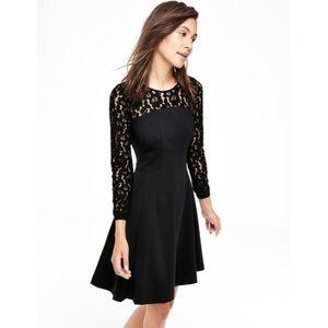 Boden Selena Black Lace Ponte Dress 16